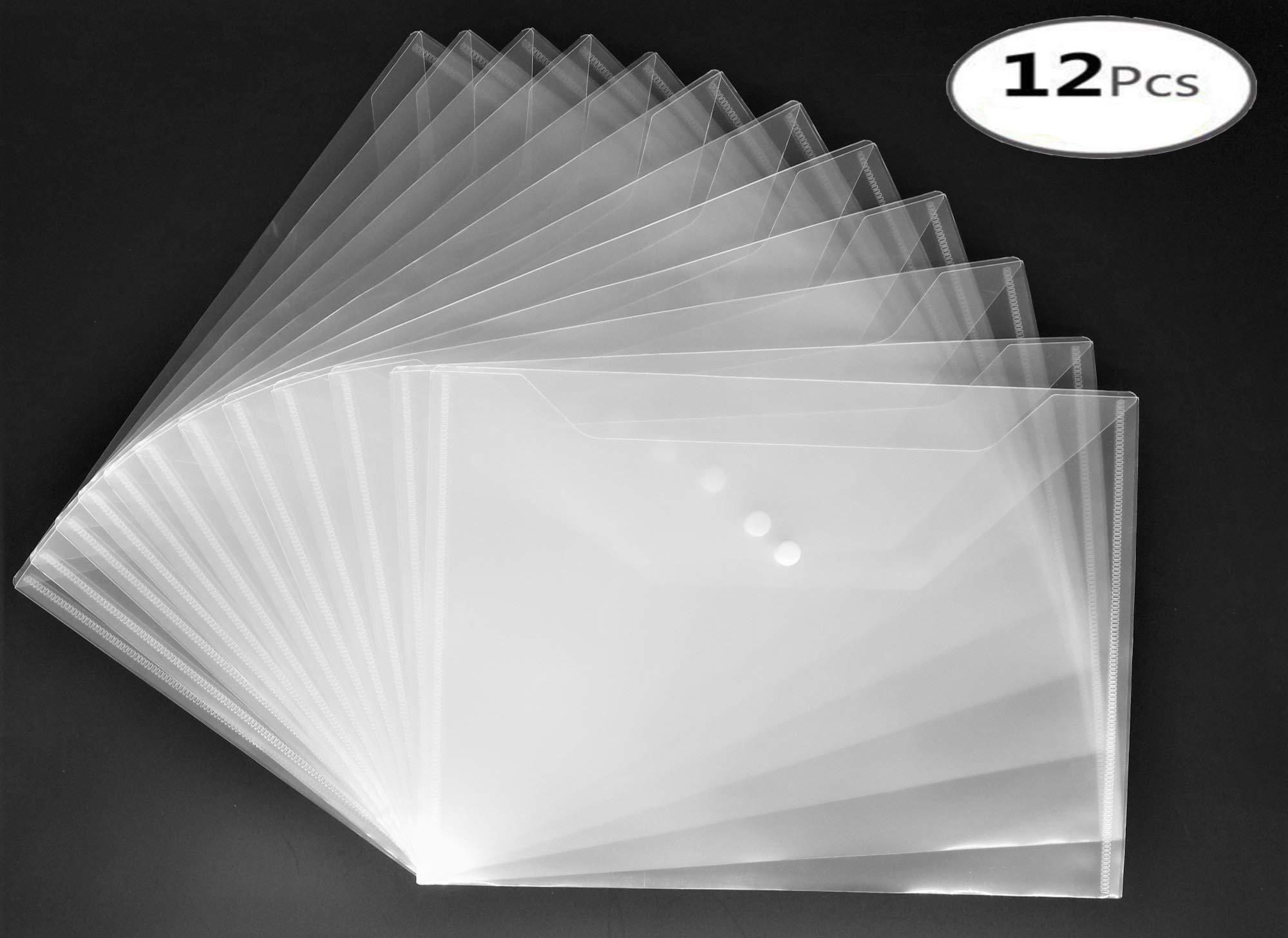 12 Pcs Wallet File Document Wallet A4 Post Folder 12 Plastic Transparent Document Wallet Clear Document Folders