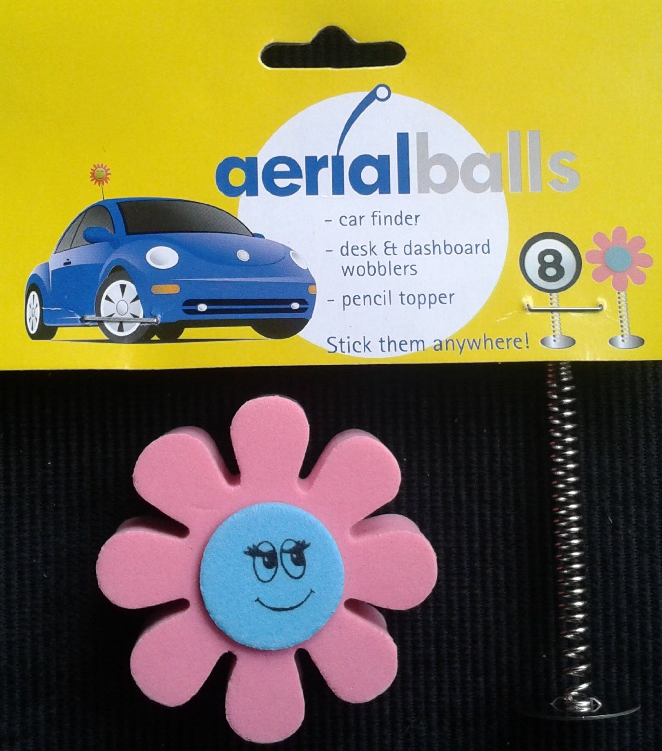 Pink and Blue Daisy Car Aerial Ball Antenna Topper