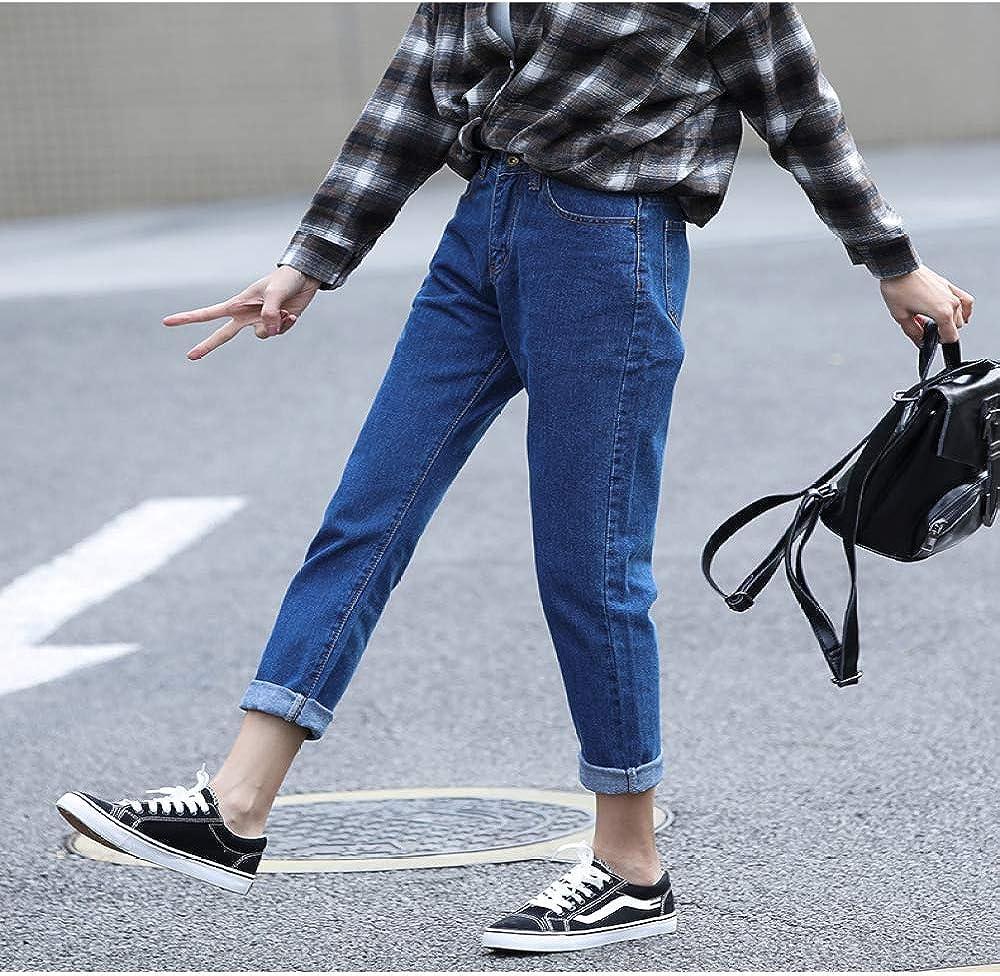 NOBRAND Jeans de cintura alta para mujer m/ás el tama/ño suelto recto de moda casual mam/á jeans harem pantalones y jeans negros de la marca Jeans