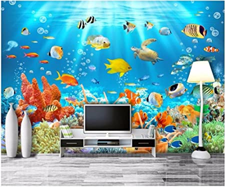 Lwcx Custom Mural Photo 3d Wall Paper Marine Aquarium Fish