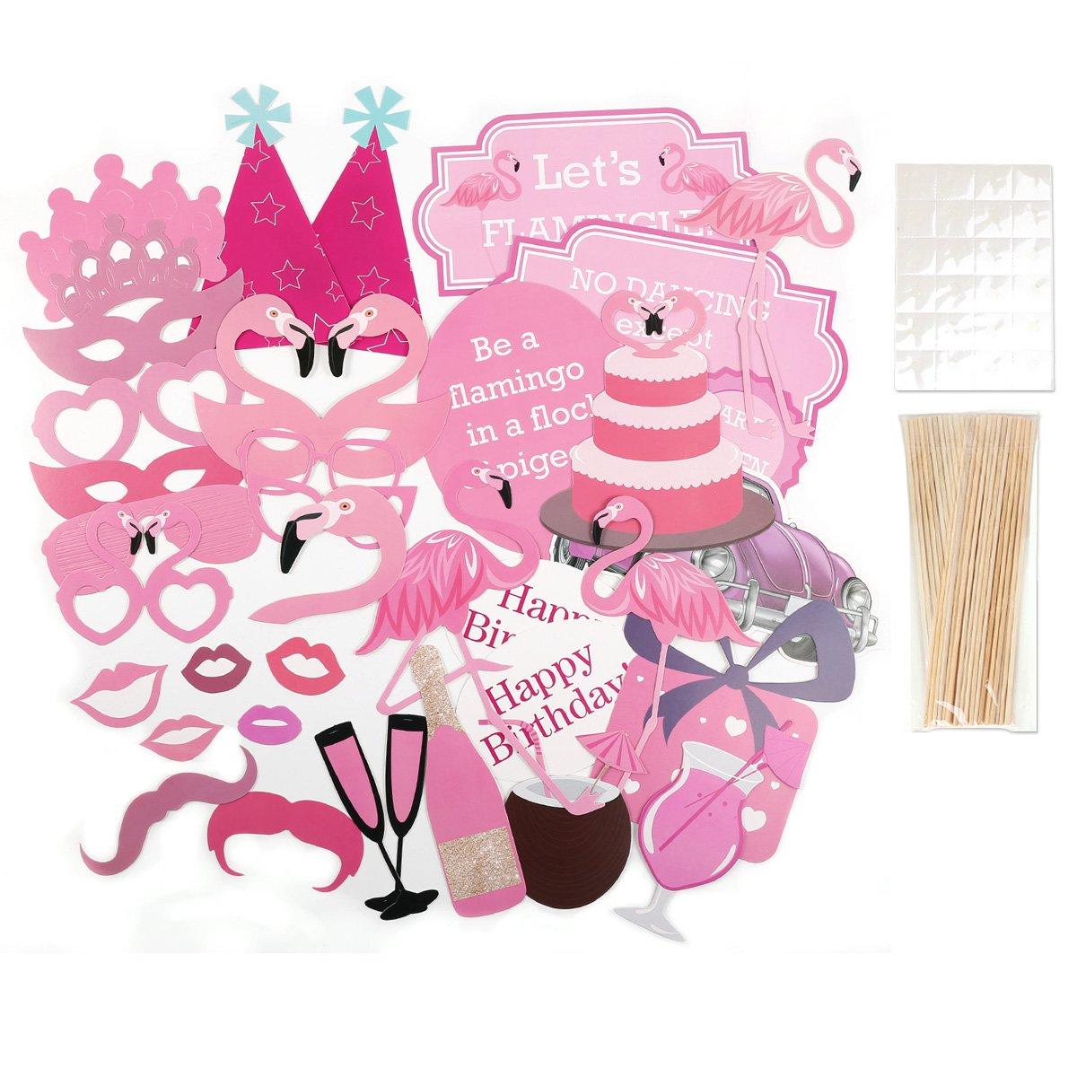 CLE DE TOUS - Pack de 31 piezas Photocall para Bautizo Fiesta Baby Showers Cumpleaño Set Decorativo Cartulinas para fotografías (Rosa para niña)