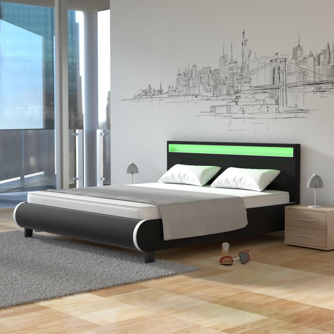 Homelux LED Bett Polsterbett Kunstlederbett Doppelbett Bettgestell ...