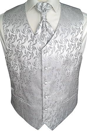 Boda Chaleco con Plastron, paño de inserción y corbata de 4 piezas ...