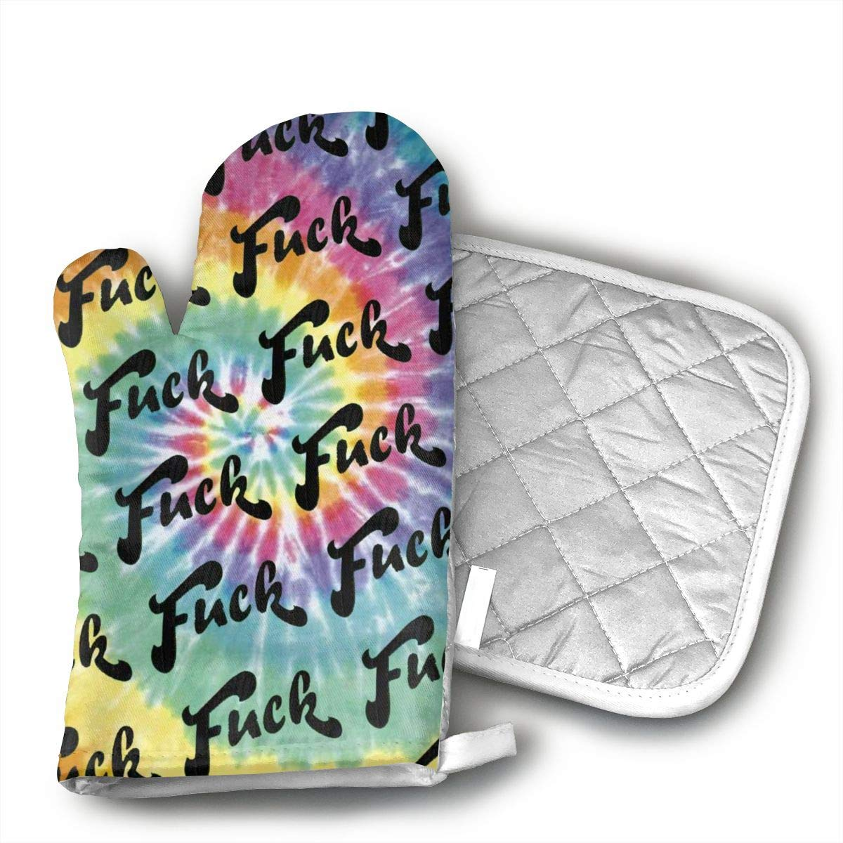 JFNNRUOP Fuck Tie-dye Oven Mitts,with Potholders Oven Gloves,Insulated Quilted Cotton Potholders