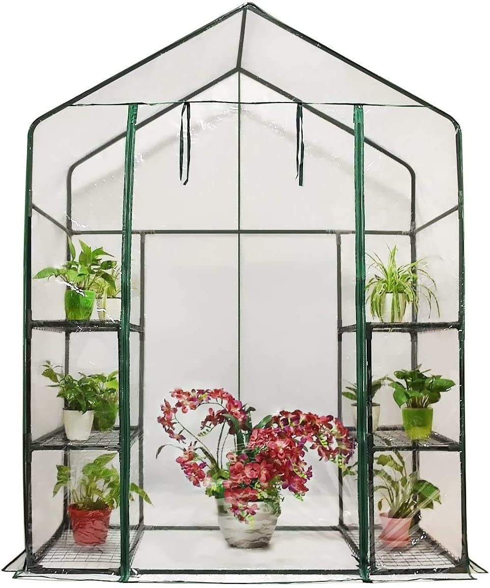 Quictent Mini Walk-in Greenhouse 3 Tiers 6 Shelves Plants Garden Green House for Indoor Outdoor 56 x29 x77 – 50 Pcs Plant T-Type Tags Include
