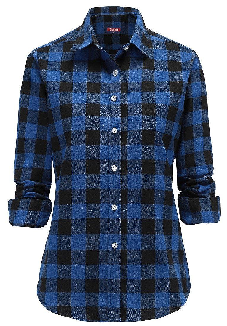 Dioufond Classics Damen Slim Kariert Langarm Bluse Freizeit Hemd Longshirt Baumwolle Button-Down Tunika