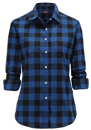 bebe577f14ec Dioufond Classics Damen Slim Kariert Langarm Bluse Freizeit Hemd Longshirt  Baumwolle Button-Down Tunika(