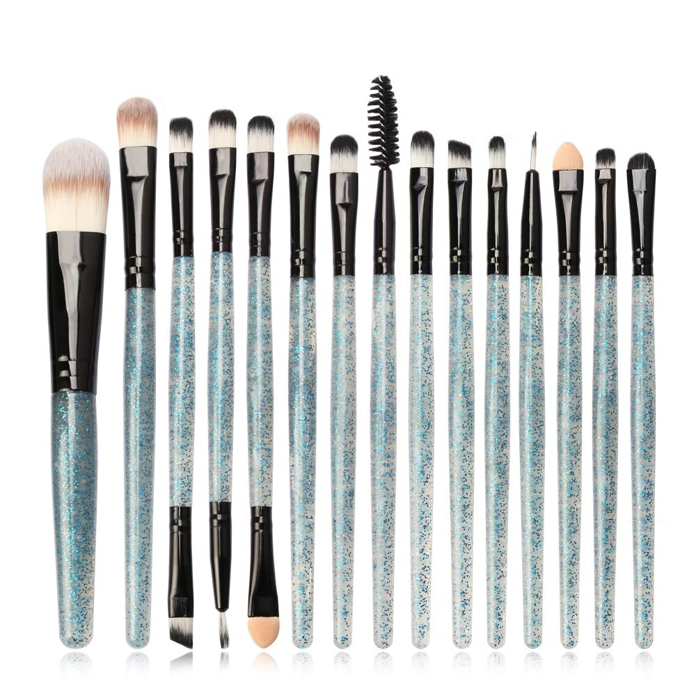 Eye Brush Set, Tenmon New Eyeshadow Eyeliner Blending Crease Kit Makeup Brushes Make Up Foundation Eyebrow Eyeliner Blush Cosmetic Concealer Brushes with Blue Crystal Handles (Black. 15pcs)