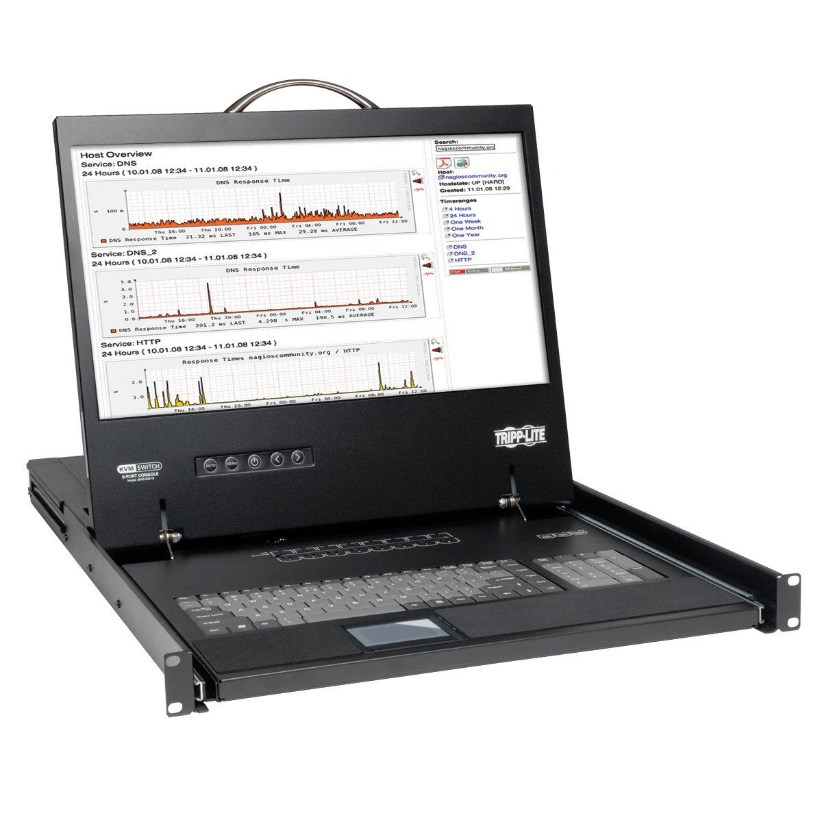 Tripp Lite B040-016-19 16 Port VGA KVM Console w 19in LCD Monitor Keyboard Touchpad