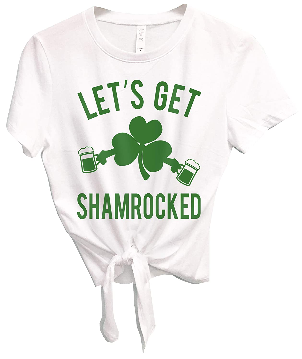 11f09ecc7 Amazon.com: Let's Get Shamrocked Women's St. Patrick's Day Shirt Crop Top  with Front Tie: Clothing