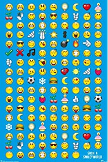amazon com periodic table of emojis blue reference chart poster