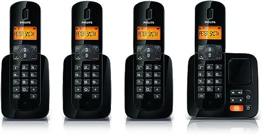 Philips CD1864B/FR - 4 teléfonos fijos inalámbricos DECT/GAP con contestador, color negro: Amazon.es: Electrónica