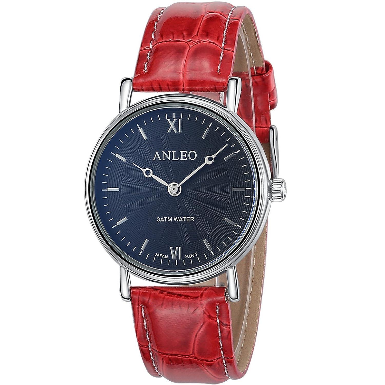 anleowatch 1pcs女性用ドレス腕時計ステンレススチールBackレザーストラップスポーツクォーツ腕時計3 ATM防水6084-red B011XMC61O