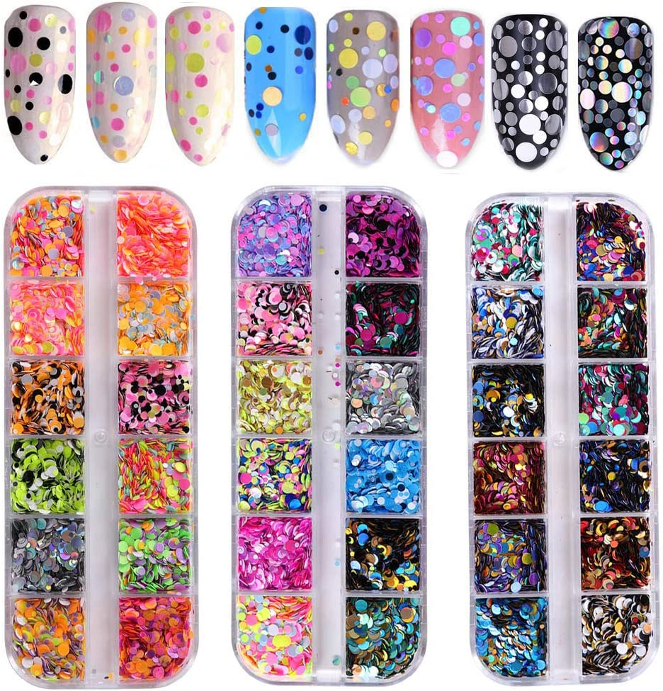 36 Color Nail Sequins, Kalolary Nail Art Flake Nail Glitter Paillette Mixed Round Thin Shining, 3D Nail Art Stickers Manicure Make Up DIY Decals Decoration: Arts, Crafts & Sewing