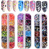 36 Color Nail Sequins, Kalolary Nail Art Flake Nail Glitter Paillette Mixed Round Thin Shining 3D Nail Art Stickers Manicure Make Up DIY Decals Decoration(3 Box/36 Grids)