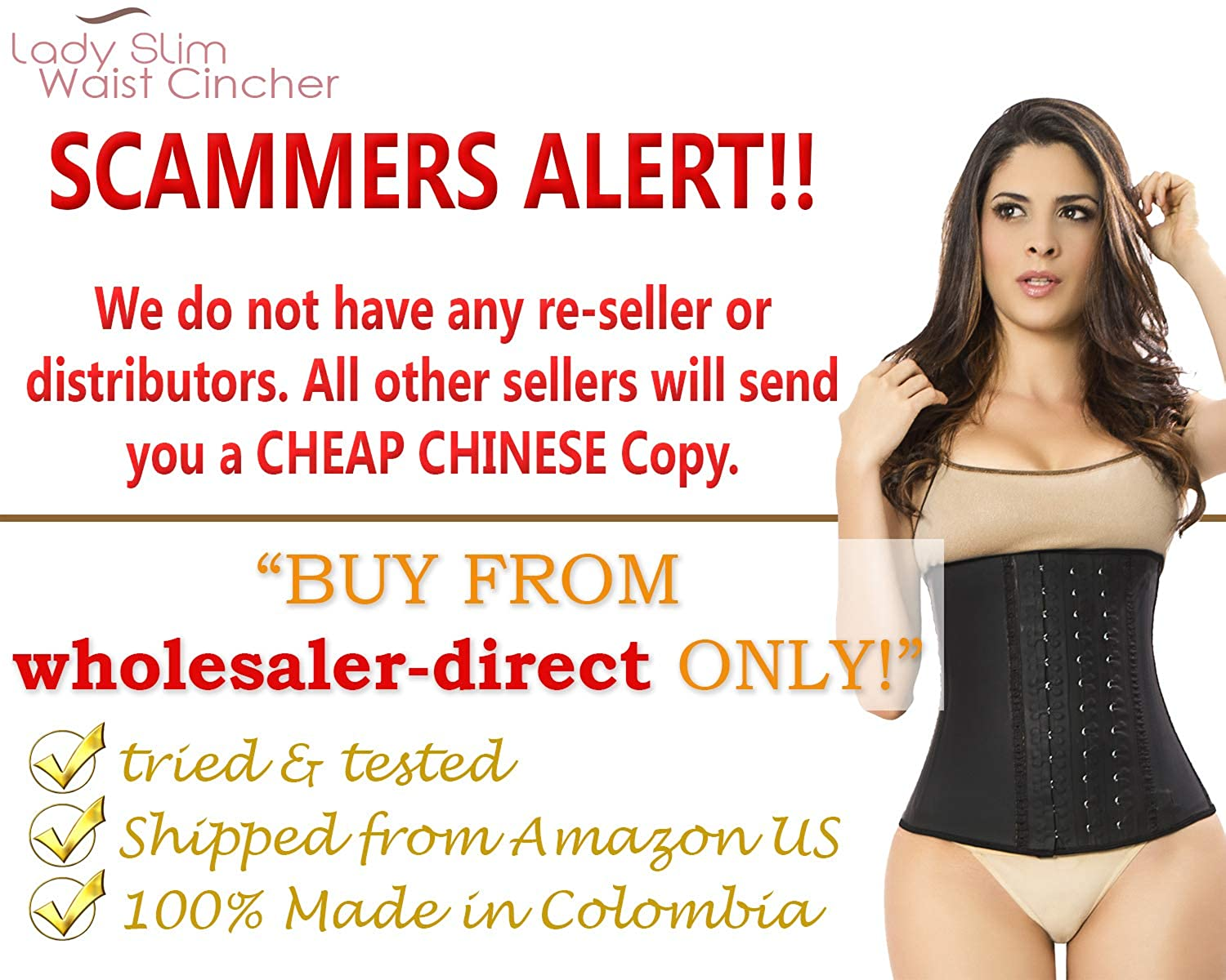 d18d2cc815 LADY SLIM Fajas Colombiana Latex Waist Cincher Trainer Trimmer Corset  Weight Loss Shaper at Amazon Women s Clothing store