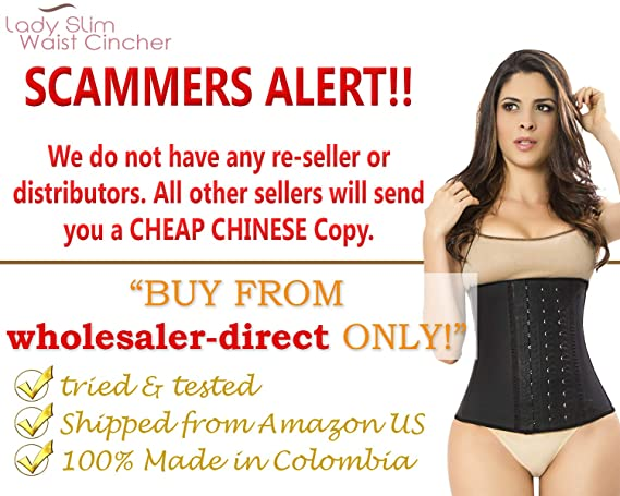 b214d66aee LADY SLIM Fajas Colombiana Latex Waist Cincher Trainer Trimmer Corset  Weight Loss Shaper at Amazon Women s Clothing store