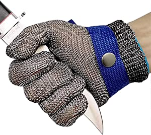 Cut Resistant Gloves Stainless Steel Wire Metal Mesh Butcher Safety Work Gloves for Cutting,Slicing Chopping and Peeling(Extra Large)