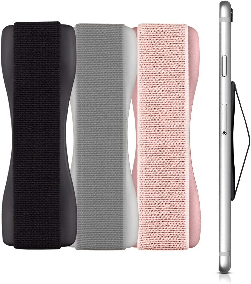 kwmobile Agarre elástico Universal para móvil - Banda de sujeción para Dedos - Set de 3 Correas traseras para teléfono - Negro Plateado y Rosa Oro