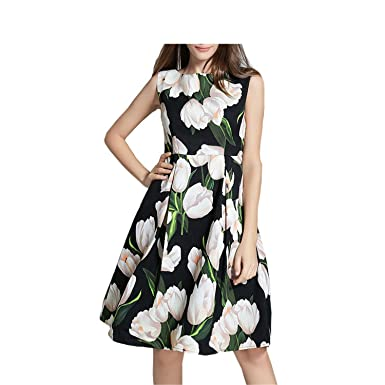 Huaqiang Summer Fashion Women Runway Dress European Style Vintage Floral Print O-Neck Sleeveless Tunic