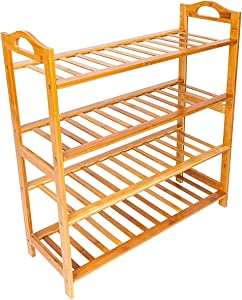 Home Furnishing Plaza Concise 12-Batten 4 Tiers Bamboo Shoe Rack Wood Color Shoerack Storage Organizer
