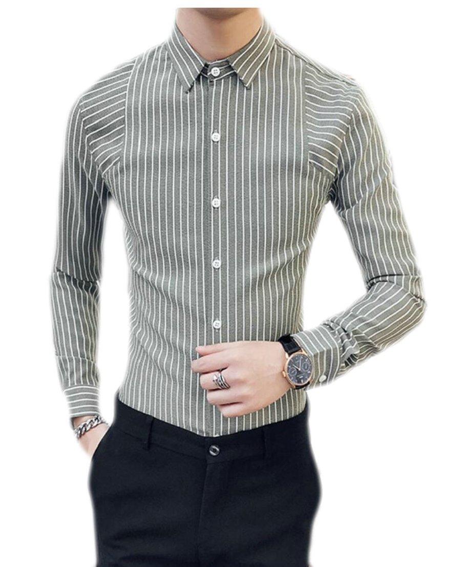Generic Mens Striped Long Sleeved Formal Turn Down Collar Slim Dress
