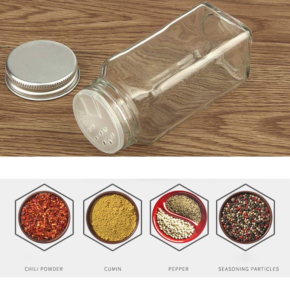 Confezione da 4mini barattoli in vetro con tappo a vite in alluminio da 100ml e 1pz spezie etichetta Fiting