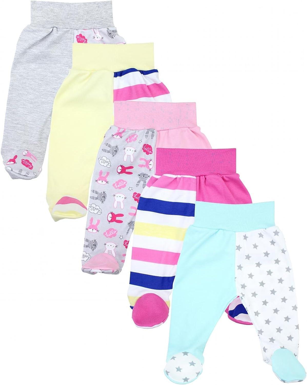 TupTam Pantalon avec Pieds pour B/éb/é Lot de 5