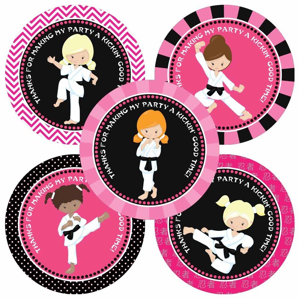 cumplea/ños etiquetas marciales artes del partido del favor Adorebynat Party Decorations EU Karate chica le agradece los pegatinas Set 30