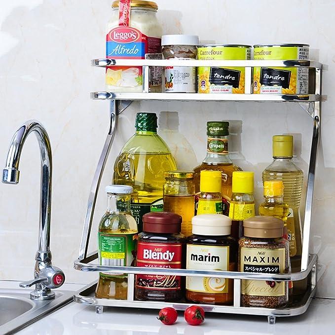 Shelf Japonés de Doble Capa Hueca Cocina condimento Estante de Acero Inoxidable mostrador de Almacenamiento Estante de Aceite Salsa Sal vinagre condimento ...