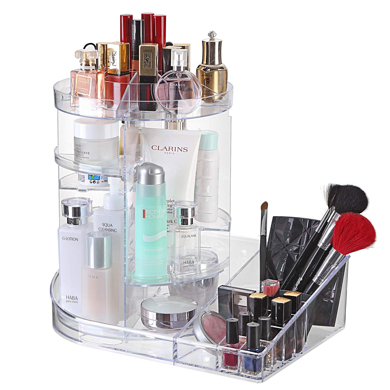 Ogrmar Adjustable 360 Degree Rotating Makeup Organizer Tray Large Capacity Cosmetics Carousel Storage Rack Fits Toner, Creams, Makeup Brushes, Lipsticks and More Transparent