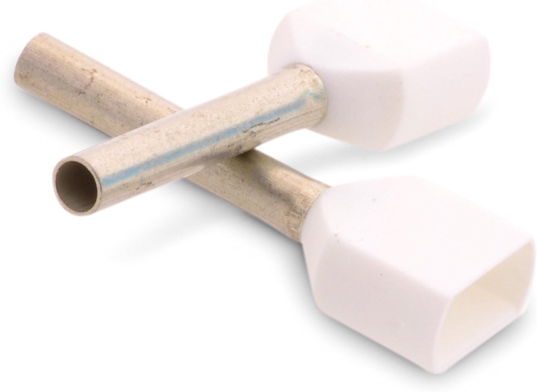 12 mm Wei/ß High Quality Aderendh/ülsen Twin-Aderendh/ülse Duo Zwilling Double Action Kabelendh/ülsen zweiadrig Doppel isoliert mit Kunststoffkragen zwei Leitungen 2 x 0,75 mm/² L/änge 100 Stk