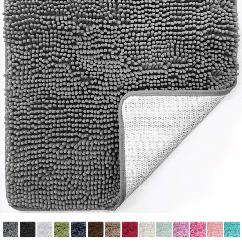 Gorilla Grip Original Luxury Chenille Bathroom Rug Mat (44 x 26), Extra Soft and Absorbent Large Shaggy Rugs, Machine Wash/Dry, Perfect Plush Carpet Mats for Tub, Shower, and Bath Room (Gray) by Gorilla Grip