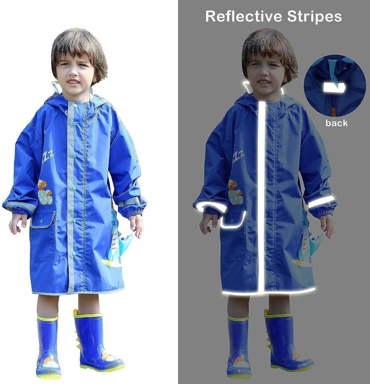 LIVACASA Kids Raincoats Transparent Boys Girls with Hooded Breathable Rainsuit Reflective Stripes Kids Puddle Suits with Pocket Cute Pattern Rain Poncho Waterproof Rainwear