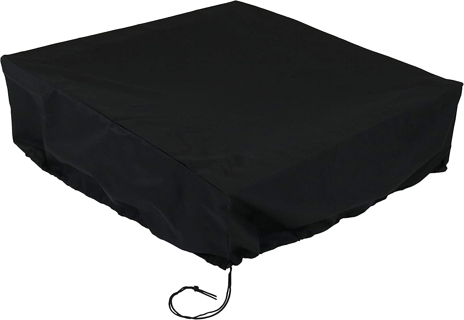 Sunnydaze Fire Pit Bowl Cover - 48-Inch Square - Protective Patio Firepit Cover - Snug Fit with Drawstring & Toggle - Durable Polyester with PVC Backing - Weather Resistant