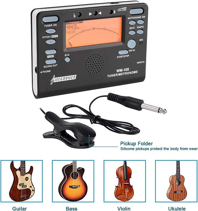 WEGROWER - Afinador y metrónomo digital para guitarras, violines ...