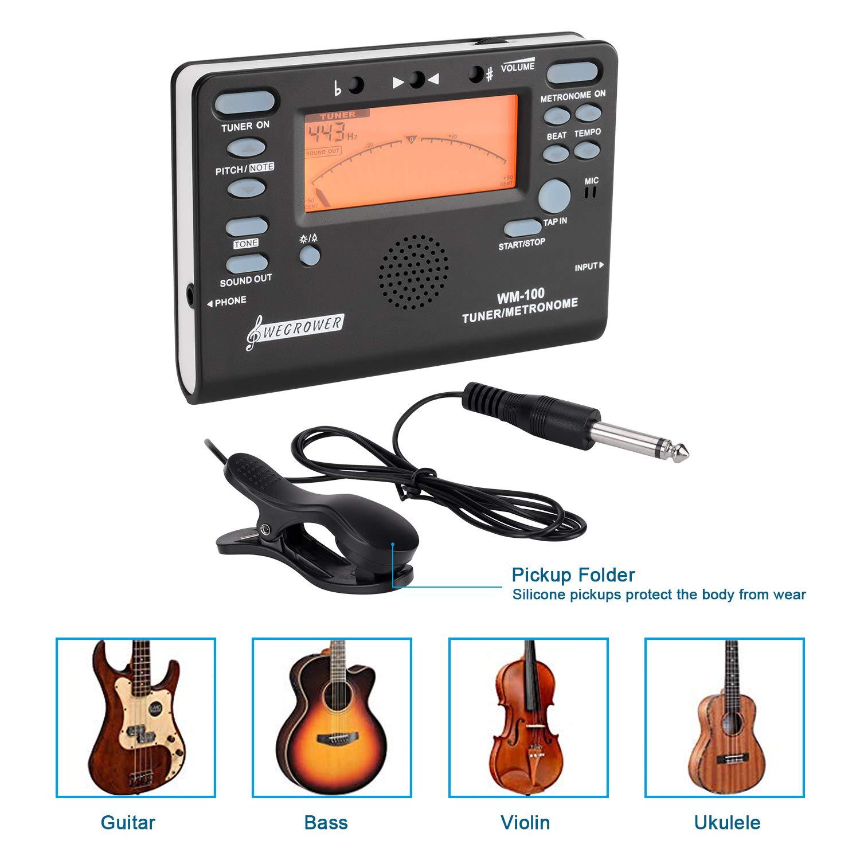 Afinador electrónico de metrónomo para todos los instrumentos, guitarra, violín, piano, bajo, ukelele, saxofón, clarinete: Amazon.es: Instrumentos musicales