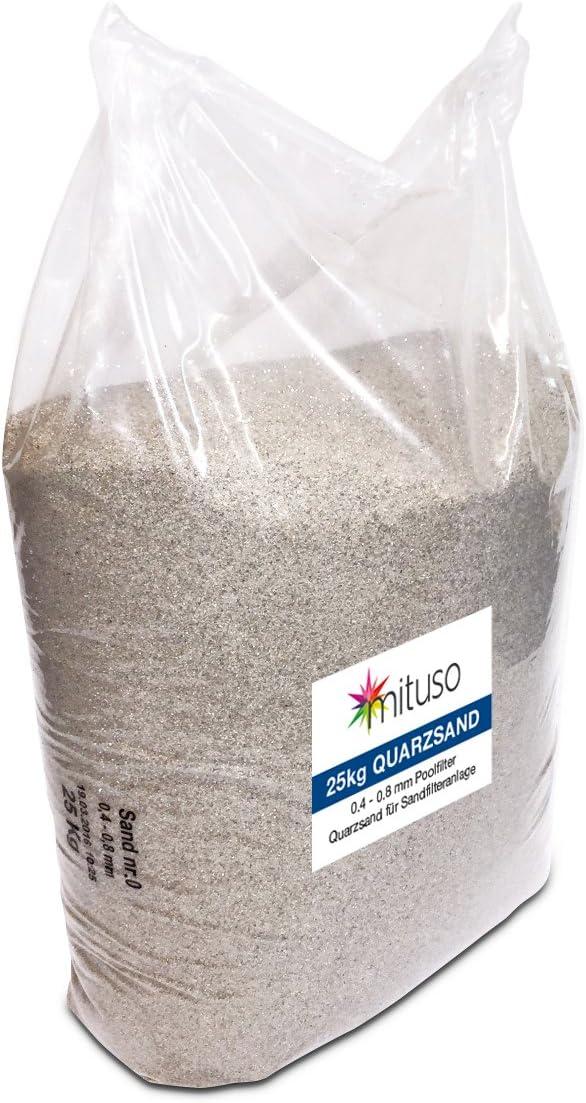 Mituso – Arena de cuarzo, filtro de arena, grano 0,4 – 0,8 mm, arena de acuario (1 x 25 kg)