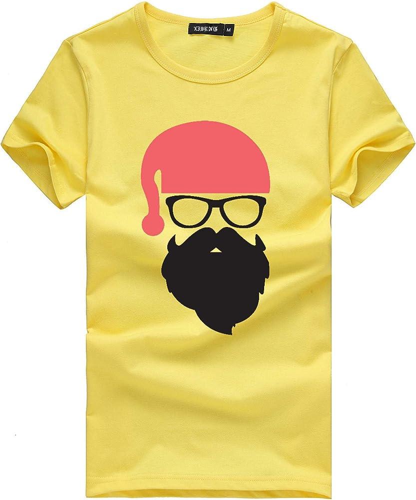 ღLILICATღ Navidad Home Camisas Casuales Impresión Deportivo T-Shirt Manga Corta Hombre Camiseta Top Algodón Navideño Cuello Redondo Traje Acogedor Otoño Impresión de Santa Ropa: Amazon.es: Ropa y accesorios