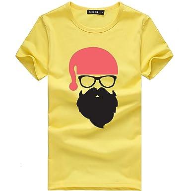Mymyguoe Unisex Hombres Mujeres Navidad Santa Imprimir Blusa de Manga Corta Camiseta Top Camisa Pullover: Amazon.es: Ropa y accesorios