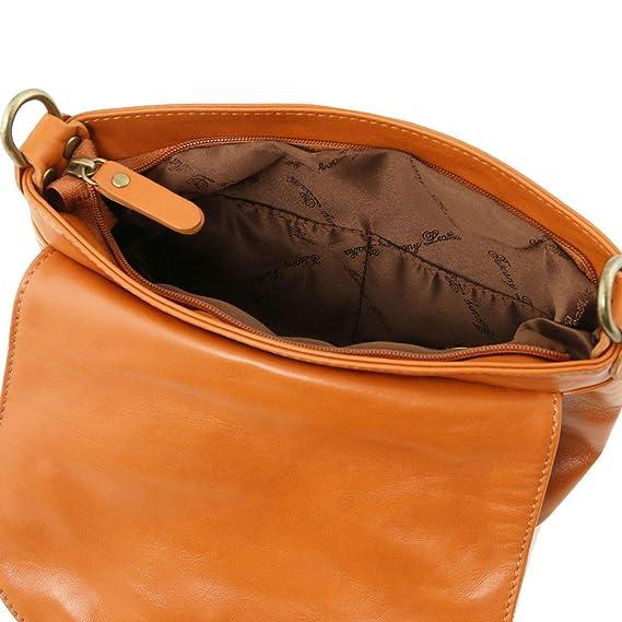 93be20cda Tuscany Leather TLBag Bolso en Piel Suave con Borla y Bandolera Azul  Oscuro: Amazon.es: Equipaje