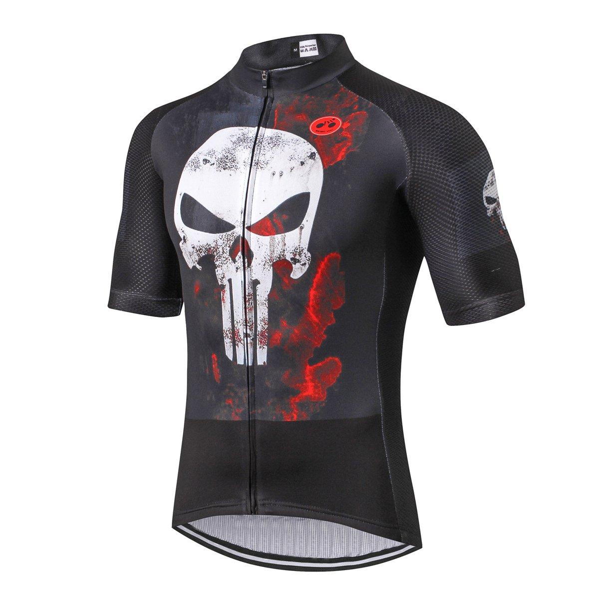 Shenshan Ciclismo Jersey Uomini 2018Ciclismo Jersey Bicicletta Abbigliamento Top Uomini Ropa Ciclismo Maillot MTB Maglia Racing Sport T-Shirt cranio nero