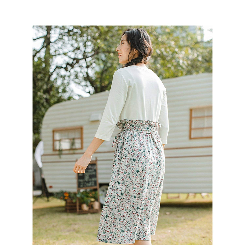 2019 Spring O-Neck Retro Literary Floral Printed Defined Waist Slim Three Quarter Sleeves A-line Women Dress Clown