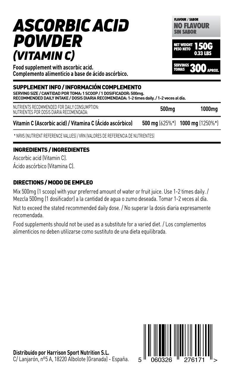 Vitamina C (Ácido Ascórbico) de HSN Raw - En Polvo - Sabor Neutro Apto para vegetarianos, sin gluten, libre OGM, antiinflamatorio, antioxidante - 150 gr: ...