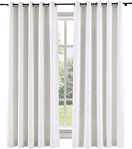 ChadMade 120W x 102L Inch Beige White Linen Polyester Curtain Drapes with Blackout Thermal Lining, Room Darkening Antique Bronze Grommet Curtain for Sliding Glass Door Patio Door Living Room 1 Panel