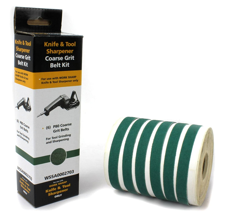 Work Sharp Schärfgerät und Band Sortiment Körnung 80 - Afilador de Cuchillos, Color Verde