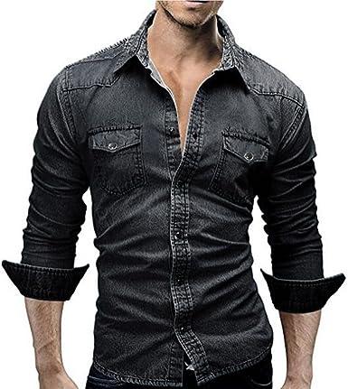 LMMVP Camisas para Hombres Moda Retro Personalidad Clásico Botón Ajustado Delgado Negocio Casual Camisetas de Manga Larga Camisa Vaquera Blusa Vaquera (L, Negro): Amazon.es: Ropa y accesorios