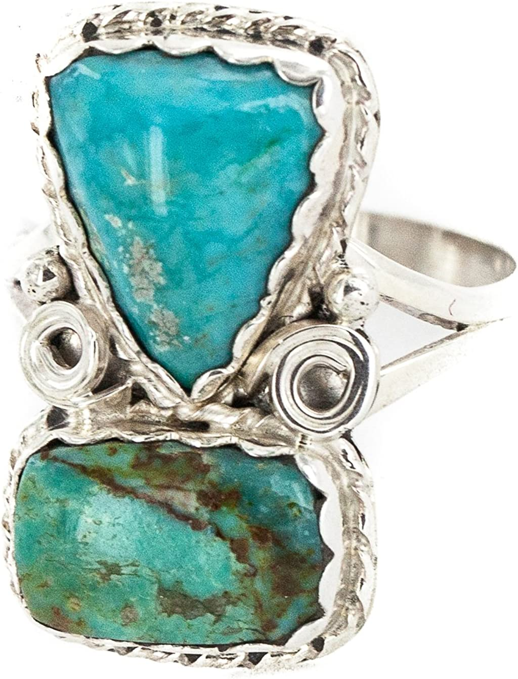 $270Tag Silver Certified Authentic Navajo Turquoise Native American Ring 18187-8 Made by Loma Siiva