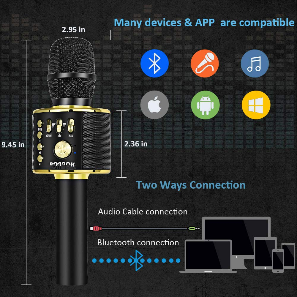 BONAOK Wireless Bluetooth Karaoke Microphone,3-in-1 Portable Handheld karaoke Mic Speaker Machine Home Party Birthday Gift for iPhone/Android/iPad/Sony/PC/All Smartphone (Black&Gold) by BONAOK (Image #3)
