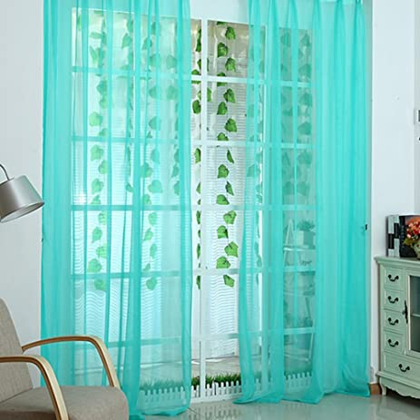 Abill Rome Circle Pure Color Sheer Curtain Door Curtain Decorative Curtain  Aquamarine Blue